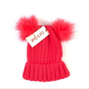 Girl's Knit Beanie with Poms